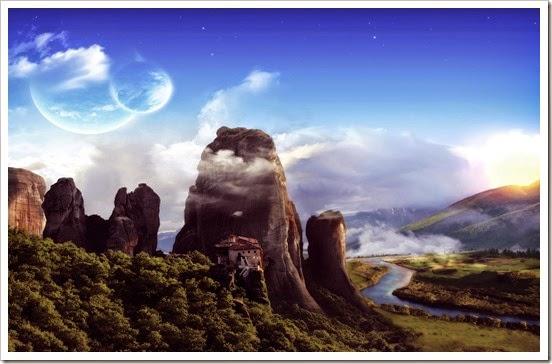 Imágen-fantástica-de-casas-en-la-cima-de-la-montañas-