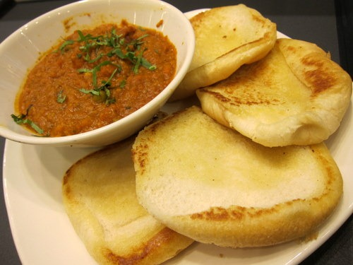 Pav Bhaji: Famous from the streets of India mashed vegetables in a tangy cumin sauce served on hot toasted bun