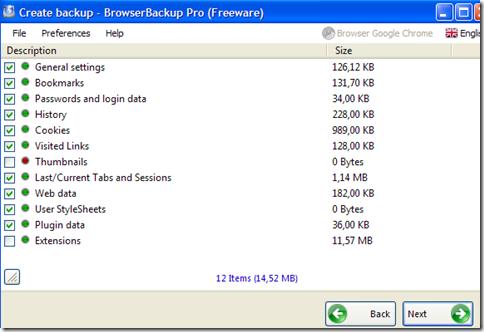 BrowserBackup Pro indicare i dati del browser da comprendere nel backup