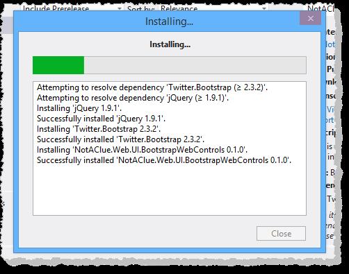 installing bootstrap menu control