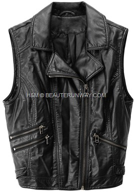 H&M Leather Biker Vest Grunge with Zippers  90s Pop up collection