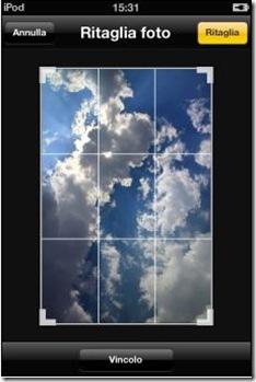 Foto ripristinata allo stato oroginale con la griglia di ritaglio su iPhone, iPad e iPod touch