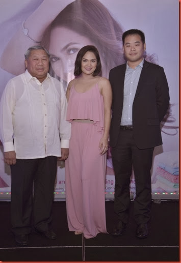 President and CEO of Peerless Lion Corp. Simeon Tiu, the face of the Champion Fabri-Con Judy Ann Santos-Agoncillo, and VP for Sales and Marketing Jasper Tiu