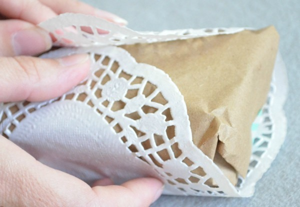 doily and kraft paper