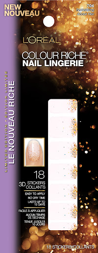 L'Oreal's Colour Riche Nail Lingerie, available this month in three delicate designs, work with any nail polish. Once lacquer is dried, simply stick these on over it.
