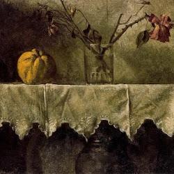 Manuel López Villaseñor (1974): Flores secas y un membrillo(Realismo academicista)