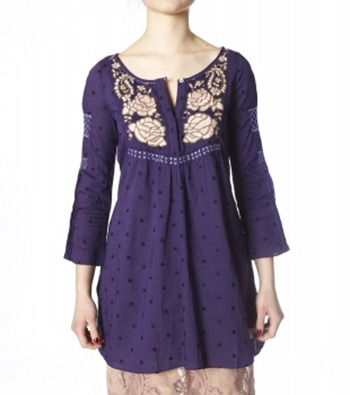 #827 Mulan 3 4 tunic d lilac