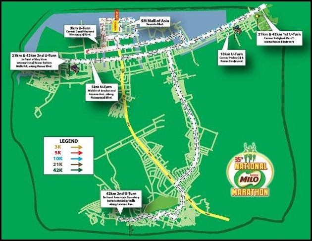 35th national milo marathon manila finals 42k race map 21k race map 10k race map 5k race map 3k race map LIght