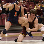 184: #5 Kevin Steinhaus (Minnesota) dec #12 Tony Dallago (Illinois) 10-3. Photo by Mark Beshey.