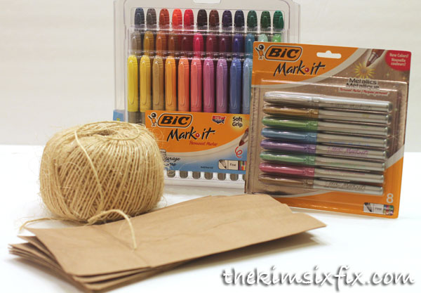 Supplies for brown paper place cards