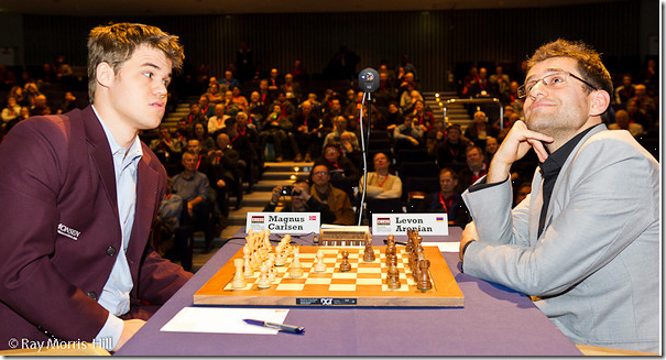 Carlsen vs Aronian, Round 2, London Chess Classic 2012