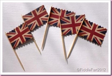 Union jack cupcake flag picks