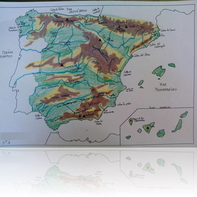 mapa físico España modificado