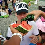 red wine and melon with a white shirt wasn't a good idea in Akiruno, Tokyo, Japan