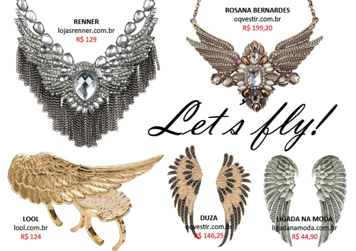 colar e anel asinhas de anjo