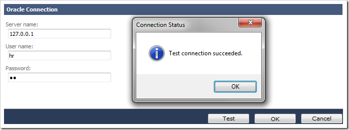 Alert showing that test connection succeeded for the Oracle connection string.