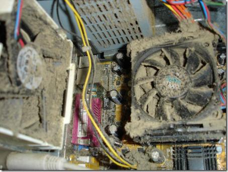 Sistem Pendingin (kipas dan aluminium pendingin) yang kotor