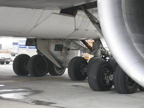 One can never be too careful -- always inspect the landing gear before boarding -- this is a B747-400