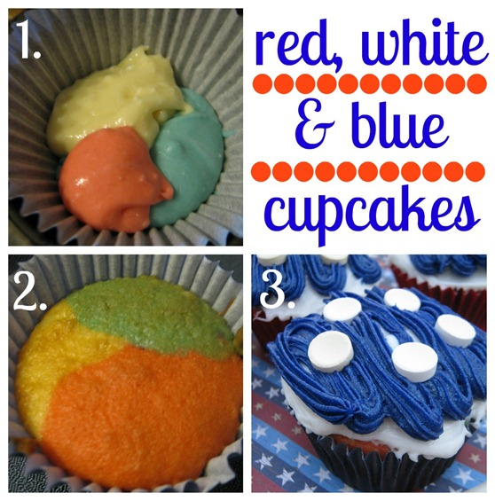 red, white &amp; blue cupcake