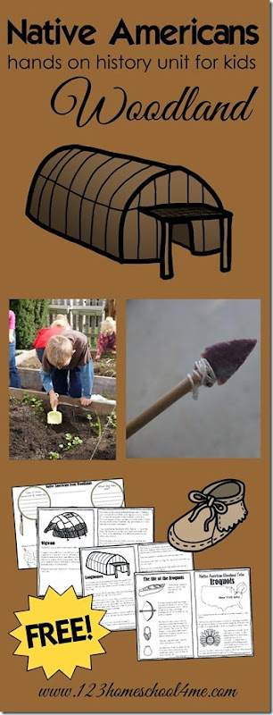 native americans -woodland  tribes ! A hands on history unit of North American Indians.  Includes 2 printable mini books (Iroquois and Powhattan), tribe comparisson, and ideas for hands on learning about history including arrowhead dig, make your own bow and arrow and more for preschool, kindergarten, homeschool, and more