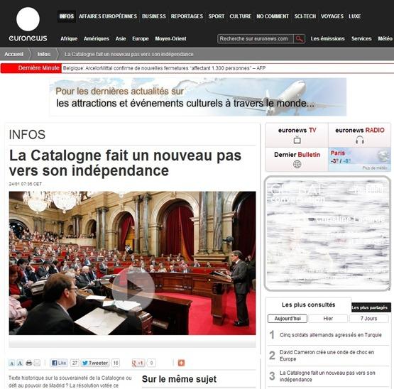 Article EuroNews Catalogne Catalunya