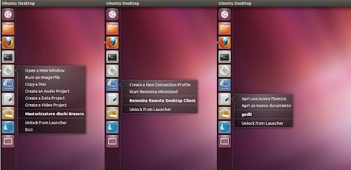 quicklists di default per Brasero, Gedit e Remmina per Ubuntu 12.04