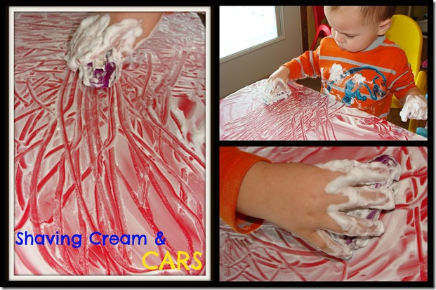 shaving cream and cars Collage