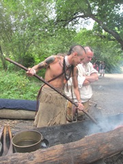 Plimoth Plantation 8.30.2-13 indian burning out a log3