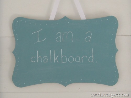 blue shaped chalkboard