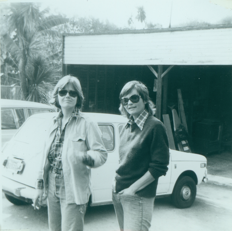 Nicki Toomey and Brenda Weathers on driveway at Morton Avenue. Circa October 1975