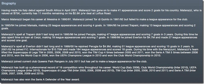 Biography of Materazzi