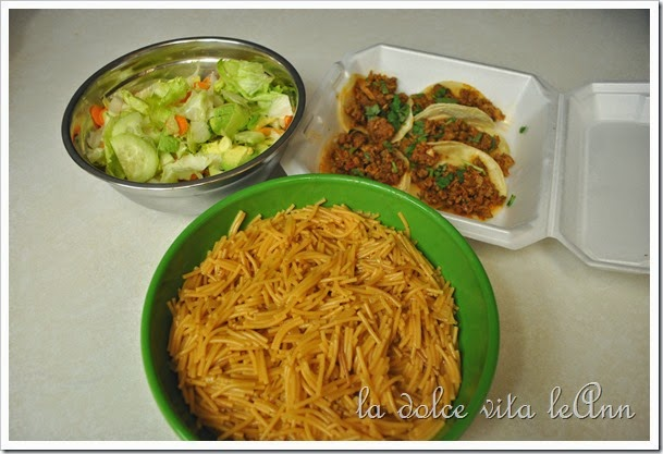Fideo, Street Tacos, Salad
