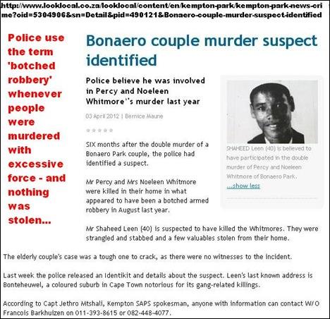 Whitmore Percy and Noeleen double murder suspect IDd as Sheheen Leen 40 Bonaero Park Kempton Aujgust 2011