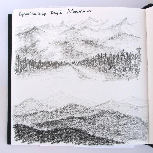 2014 August 6 spoonchallenge day 2 mountain sketchbook hazel fisher creations