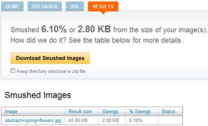 Tela de resultado de compactação do Smush.it