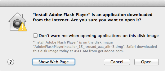 Adobe flash installer warning