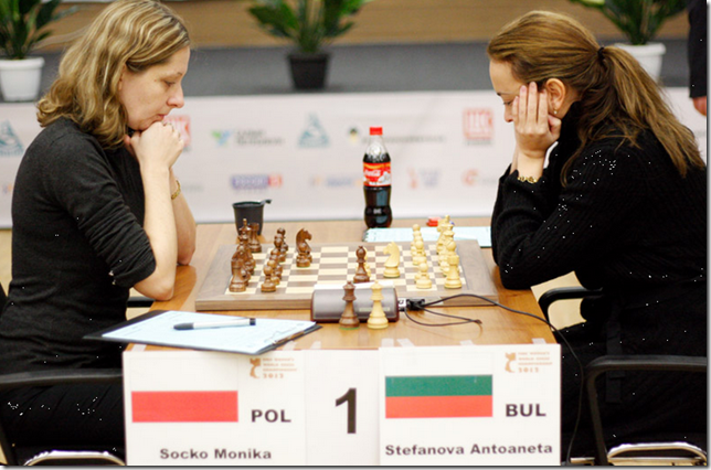 Monika Socko vs Antoaneta Stefanova, 3rd Round, Women's World Chess Championship 2012, Khanty-Mansiysk Russia