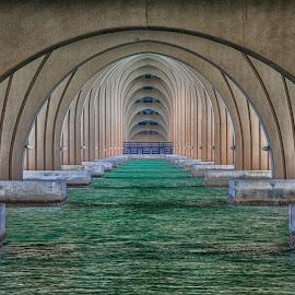Under The Bridge by Tony Allison - Buildings & Architecture Bridges & Suspended Structures ( water, florida, bridge supports, bridge, geometry )