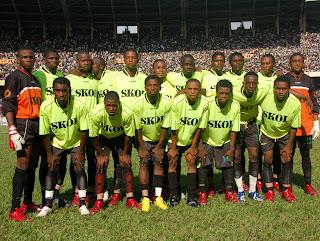L'équipe de l'As Vita au stade des martyrs à Kinshasa, 15/04/2007.