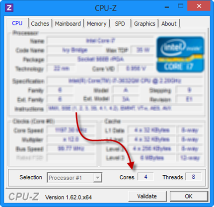 cpu-z Number of CPU Cores