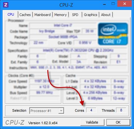 cpu-z Number of CPU Cores