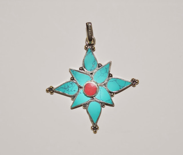 Turquoise stone with Coral stone White Metal Pendant