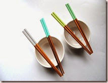 Set of 4 Paint Dipped Finished Bamboo Chopsticks