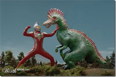 Ultraman against the Green Dino