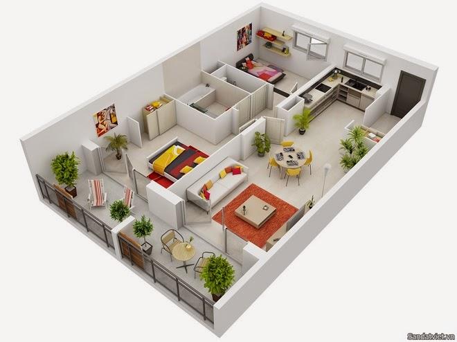 Mô hình thiết kế căn hộ chung cư 2 phòng ngủ