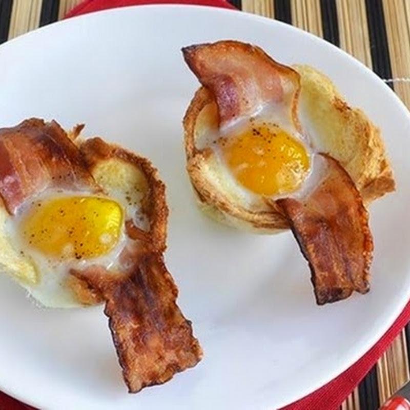 Καλαθακια με αυγα και μπεικον