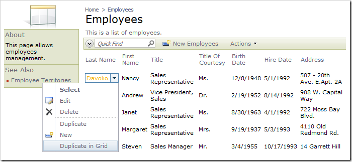 New action 'Duplicate in Grid' under context menu for row in Employees grid.