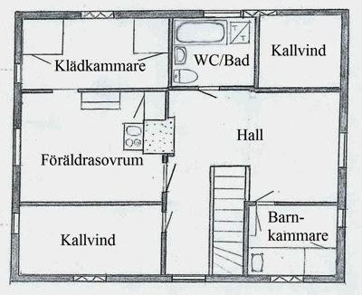 Ombyggnad övervåning, före med text