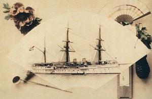 El crucero CASTILLA en Yokohama. Museo Naval. T. Mano. Nº de Reg. 623. Del libro HOMBRES Y BARCOS. LA FOTOGRAFIA DE LA MARINA ESPAÑOLA EN EL MUSEO NAVAL. (1850-1935)