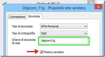 Chiave di sicurezza di rete password della rete WiFi